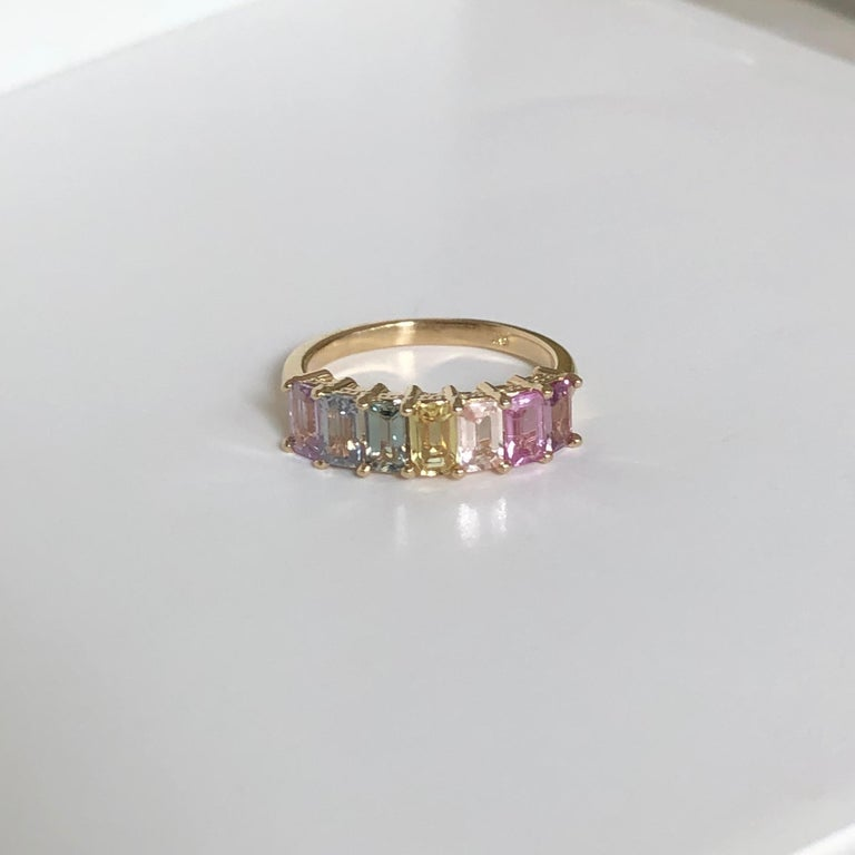 Emerald Cut Multi-Color Untreated Sapphire Half Eternity Engagement Band Ring Yellow Gold For Sale