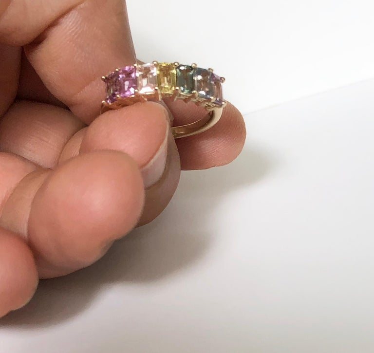 Multi-Color Untreated Sapphire Half Eternity Engagement Band Ring Yellow Gold In New Condition For Sale In Brunswick, ME