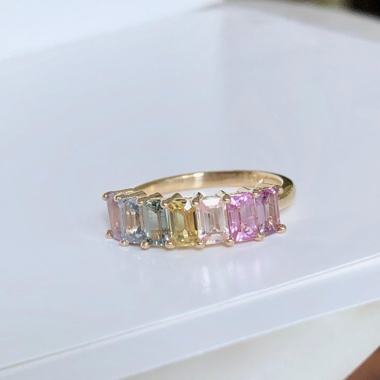 Women's or Men's Multi-Color Untreated Sapphire Half Eternity Engagement Band Ring Yellow Gold For Sale