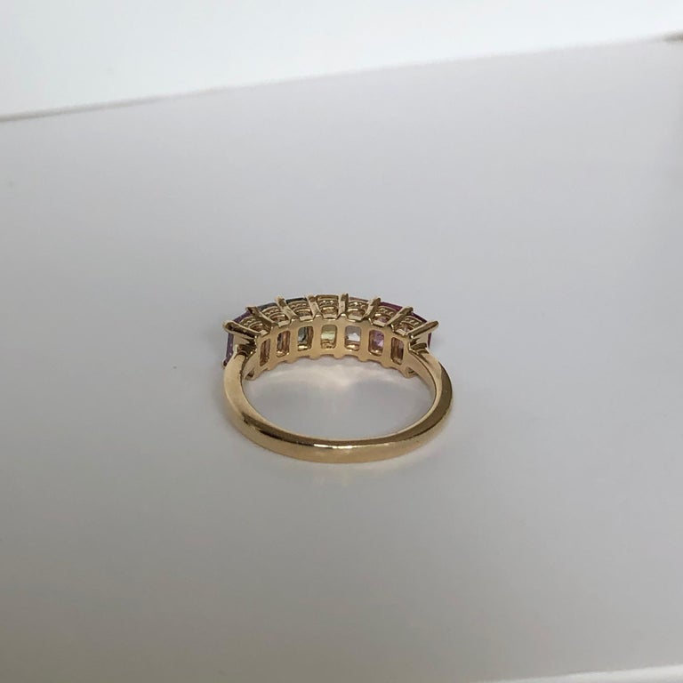 Multi-Color Untreated Sapphire Half Eternity Engagement Band Ring Yellow Gold For Sale 1