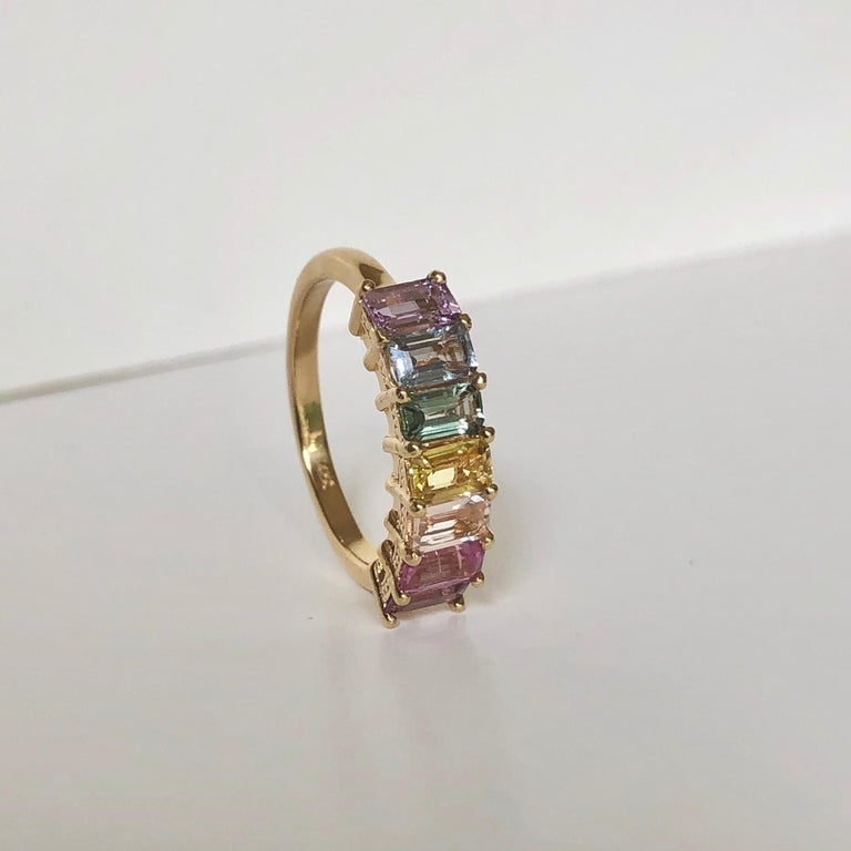 Multi-Color Untreated Sapphire Half Eternity Engagement Band Ring Yellow Gold For Sale 3
