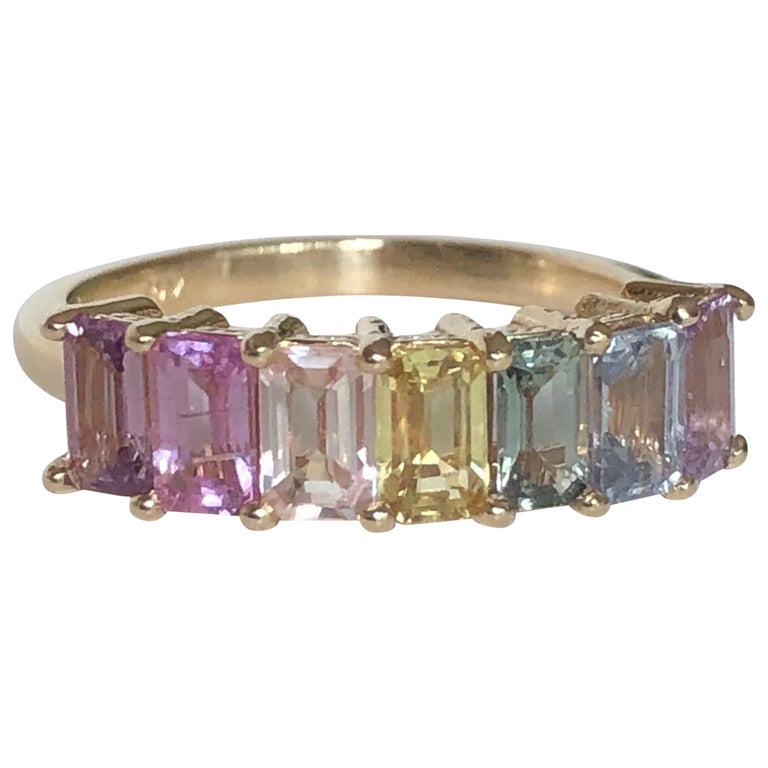 Multi-Color Untreated Sapphire Half Eternity Engagement Band Ring Yellow Gold For Sale