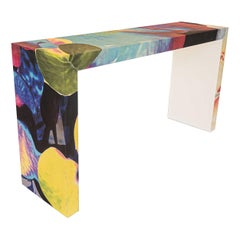 Multi-Colored Floral Waterfall Console Table