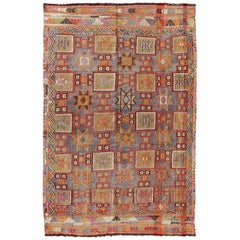 Multi-Colored Geometric Turkish Oushak Midcentury Rug with Tribal Design