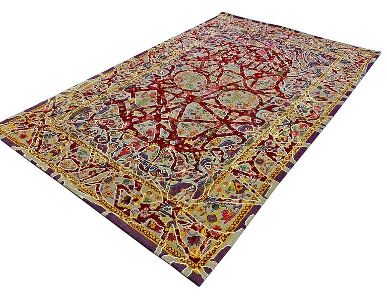 Nepalese Multicolored Handwoven Wool and Silk Modern Persian Skull Rug by Gordian Rugs For Sale