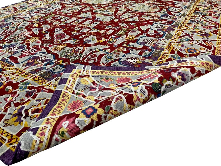 Hand-Knotted Multicolored Handwoven Wool and Silk Modern Persian Skull Rug by Gordian Rugs For Sale