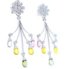 Multi-Colored Sapphire Briolettes and Diamond White Gold Drop Earrings
