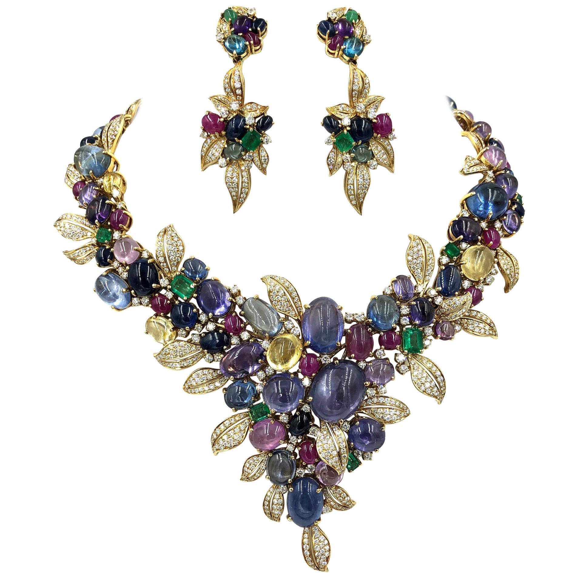 Multicolored Sapphire Diamond Emerald Ruby and 18 Karat Yellow Gold Necklace Set