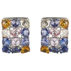 Multi-Colored Sapphire Earrings 17.51 Carat