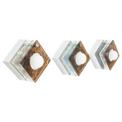 Multicolored Square Sconces Textured Plexiglass After Artemide, Italy, 1980s