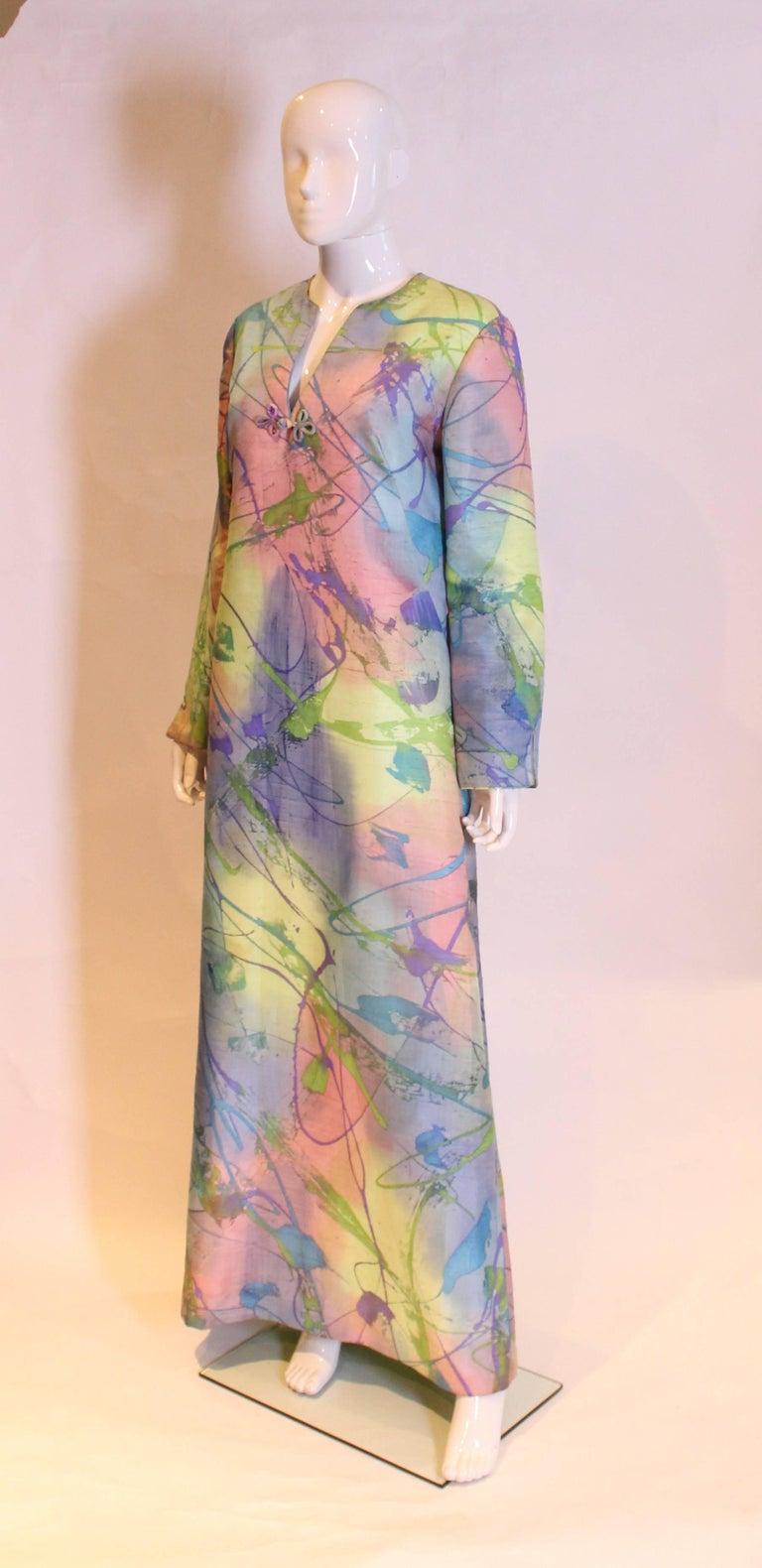 Gray Multi Colour Silk Kaftan Dress For Sale