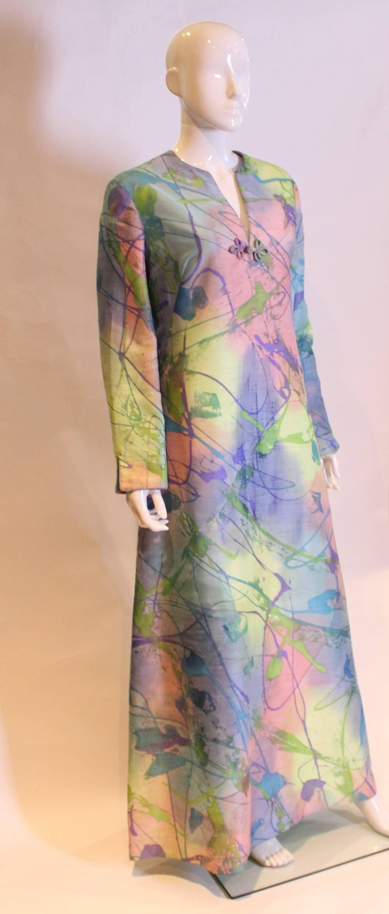 Multi Colour Silk Kaftan Dress In Excellent Condition For Sale In London, GB