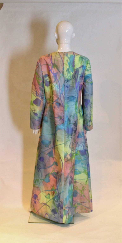 Multi Colour Silk Kaftan Dress For Sale 1