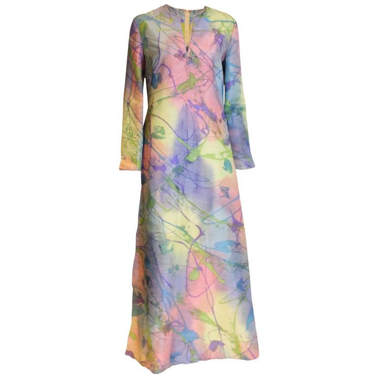 Multi Colour Silk Kaftan Dress For Sale