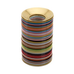 Multi-Color Stack Vase with Hand Painted Burnished Gold Piece, Oatmeal