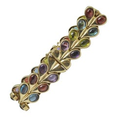Multicolored Cabochon Gemstone Gold Bracelet