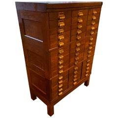 Multi-Drawer Oak Cabinet