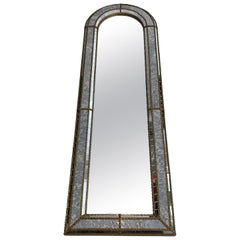 Multi-Facets Mirror Rounded on Top with Brass Garlands, French, Circa 1970