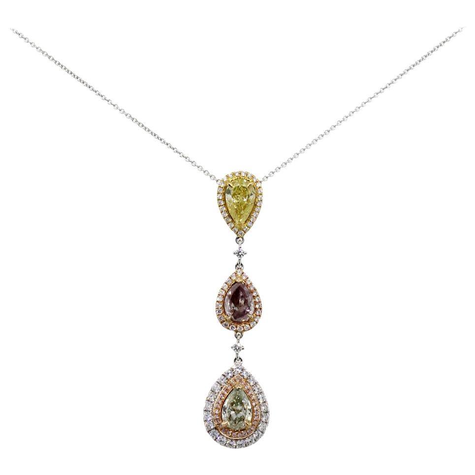 Multi Fancy Color Pear Shape Diamond Drop Pendant Necklace