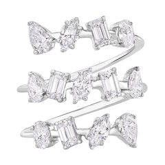 Multi Fancy Shape 2.10 Carats Diamond Cocktail Ring in 14 KT White Gold