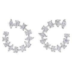 Multi Fancy Shape Diamond Hoop Earrings 3.58 Carats in 18 KT White Gold