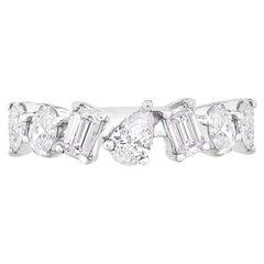Multi Fancy Shape Diamond Ring 1 Carat 14KT White Gold