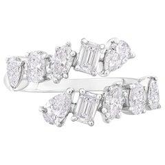 Multi Fancy Shape Diamond Ring 1.55 Carats in 14 KT White Gold
