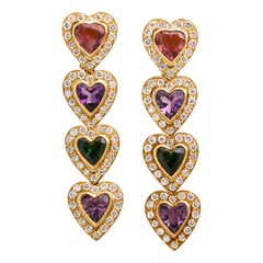 Multi Gem and Diamond Heart Earrings