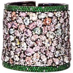Multi Gem and Sapphire Diamond 18 Karat Wide Bangle Cuff Bracelet