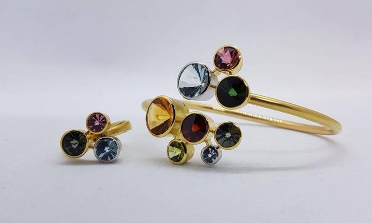 Modern Multi Gem Cuff Bracelet Atelier Munsteiner For Sale