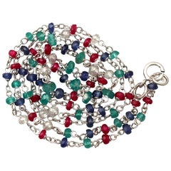 Multi Gem Diamond, Sapphire, Ruby, Emerald and White Gold Necklace