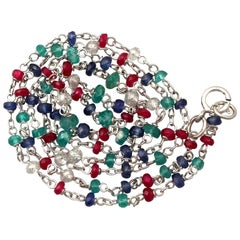 Multi Gem Diamond Sapphire Ruby Emerald and White Gold Necklace