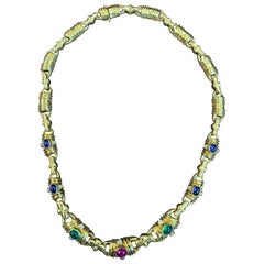 Multi Gem Gold and Diamond Necklace