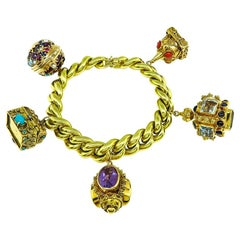 Multi Gem Gold Novelty Charm Bracelet