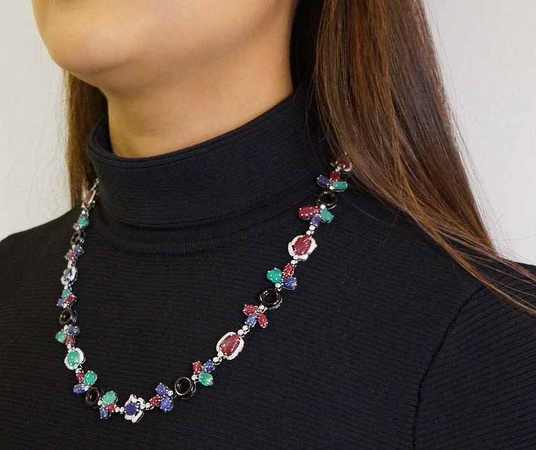 Multi Gem Necklace With Diamonds, Rubies, Sapphires, Emeralds, and Onyx For Sale 1