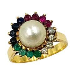 Multi Gem Ring Emerald Sapphire Ruby Diamond Pearl 14 Karat Gold