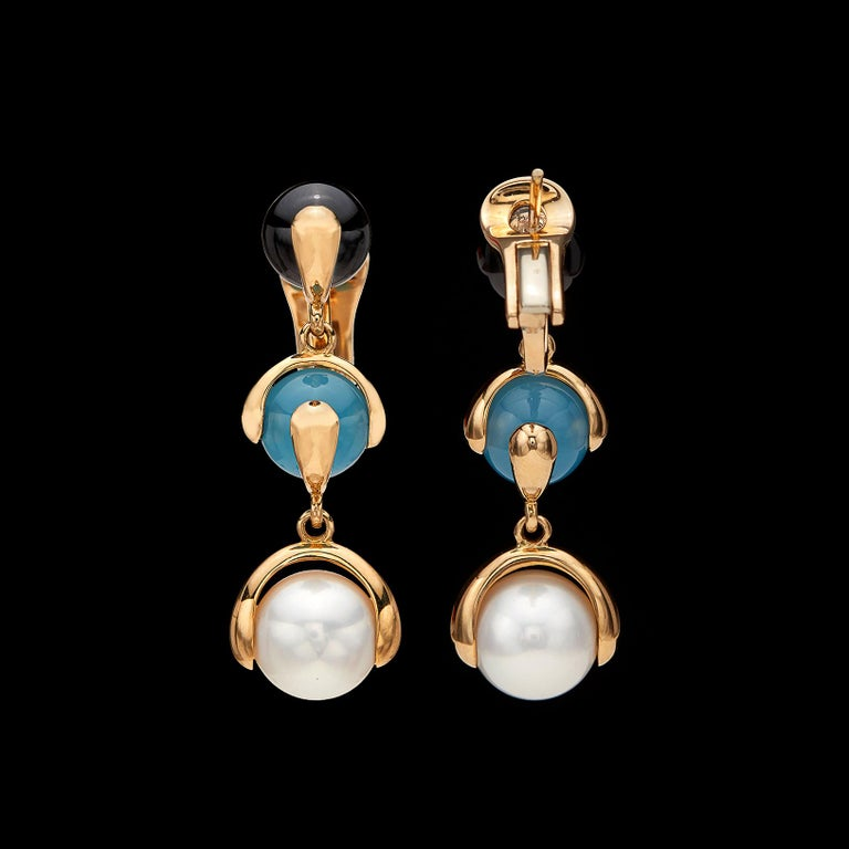 Women's or Men's Multi Gem-Set and 18 Karat Gold Earrings by Marina B. For Sale