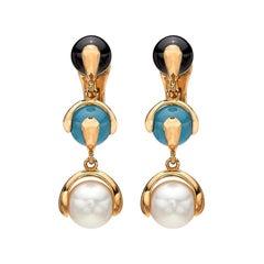 Multi Gem-Set and 18 Karat Gold Earrings by Marina B.