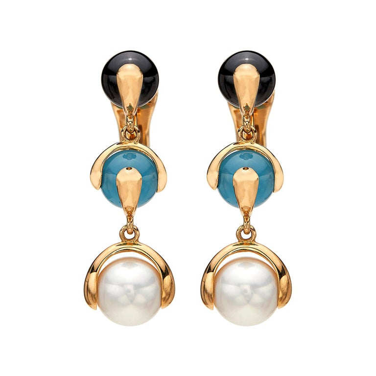 Multi Gem-Set and 18 Karat Gold Earrings by Marina B. For Sale