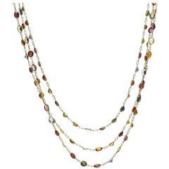 Multi Gem Set Gold Necklace