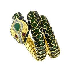 Multi Gem Stone and Color Enamel Flexible Snake Bracelet