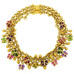 Multi-Gems Butterfly Yellow Gold Necklace