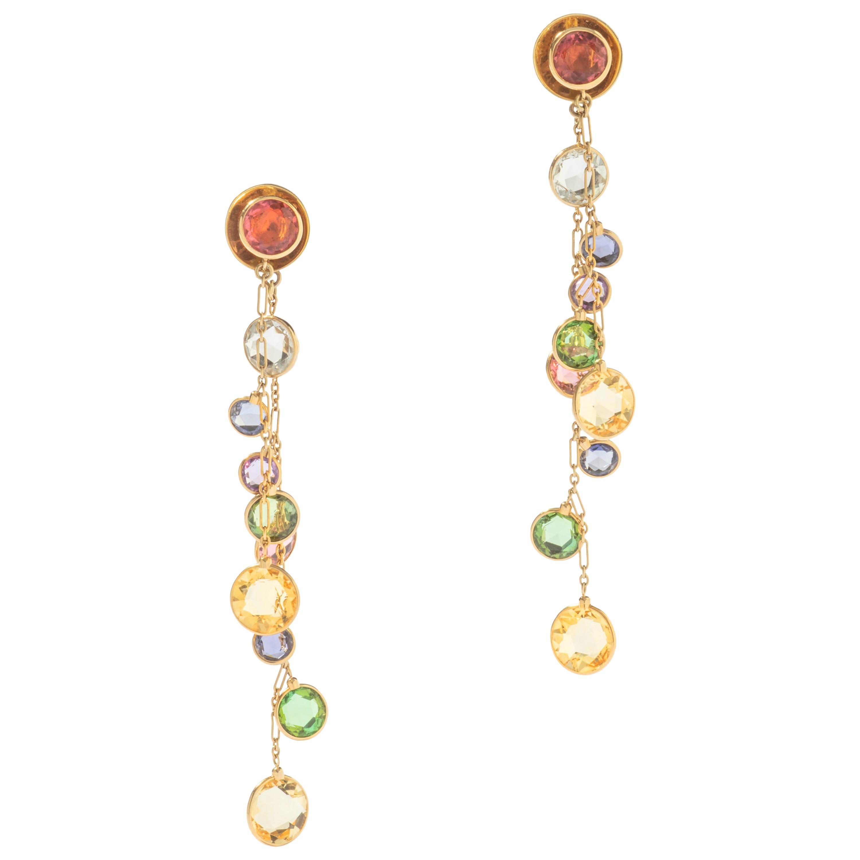 Multi Gems Gold Ear Pendants