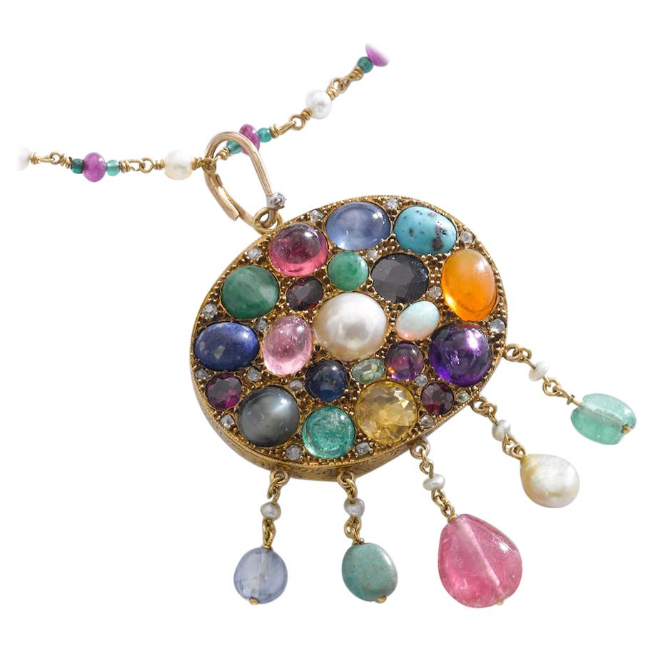Multi Gems Mother of Pearl Gold Pendant Necklace