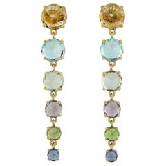 Multi Gemstone 14 Karat Gold Earrings