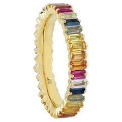 Multi Gemstone 18 Karat Gold Baguette Ring