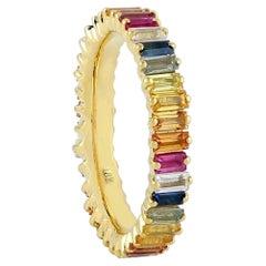 Multi Gemstone 18 Karat Gold Baguette Ring