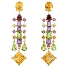 Multi Gemstone 18 Karat Gold Earrings