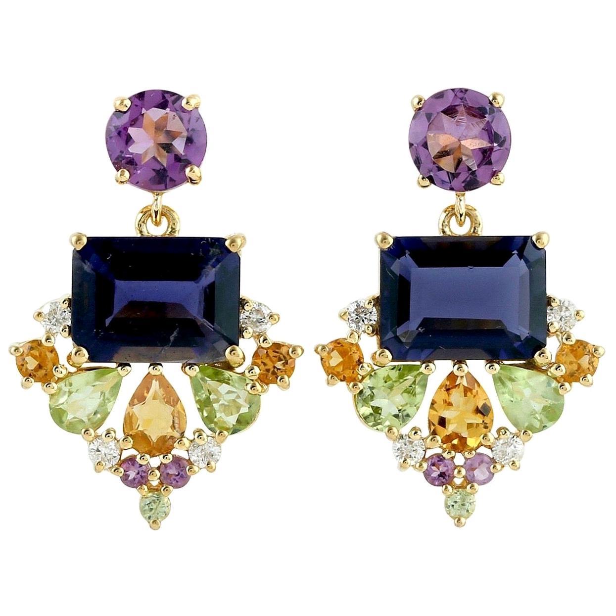 Multi Gemstone 18 Karat Gold Earrings Iolite Citrine Amethyst