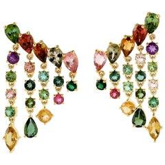 Multi Gemstone 18 Karat Gold Rain Drop Earrings